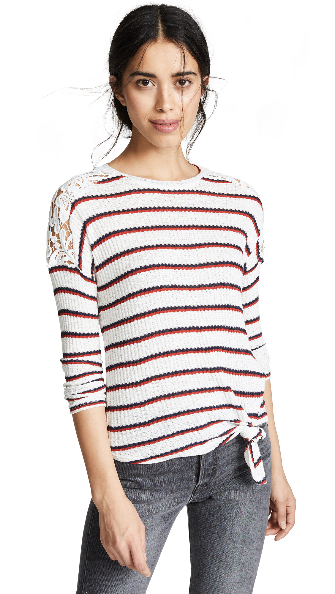 GENERATION LOVE Bleecker Striped Top With Lace Shoulder Detail in Multi Stripe