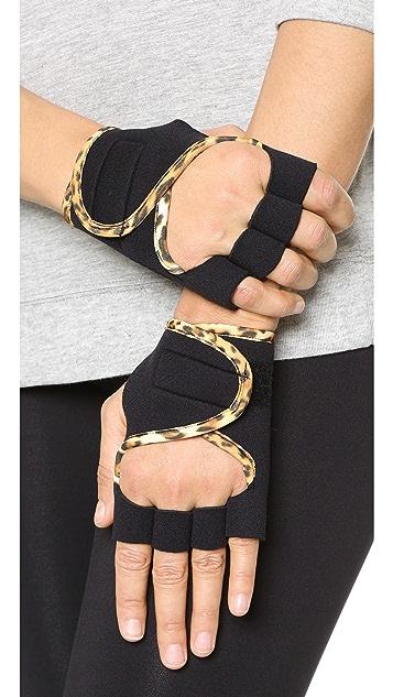 G-Loves Black with Leopard Workout Gloves