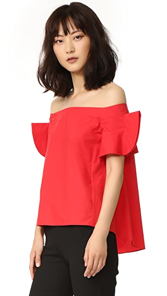 GOEN.J Off Shoulder Top with Ruffle