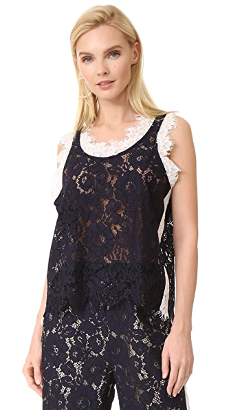 GOEN.J Sleeveless Lace Top In Dark Navy