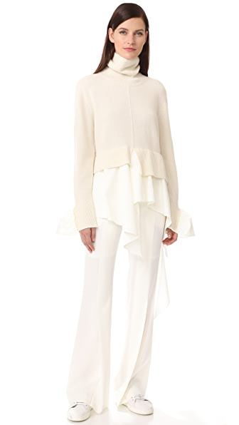 GOEN.J Ruffle Turtleneck Sweater In Ivory