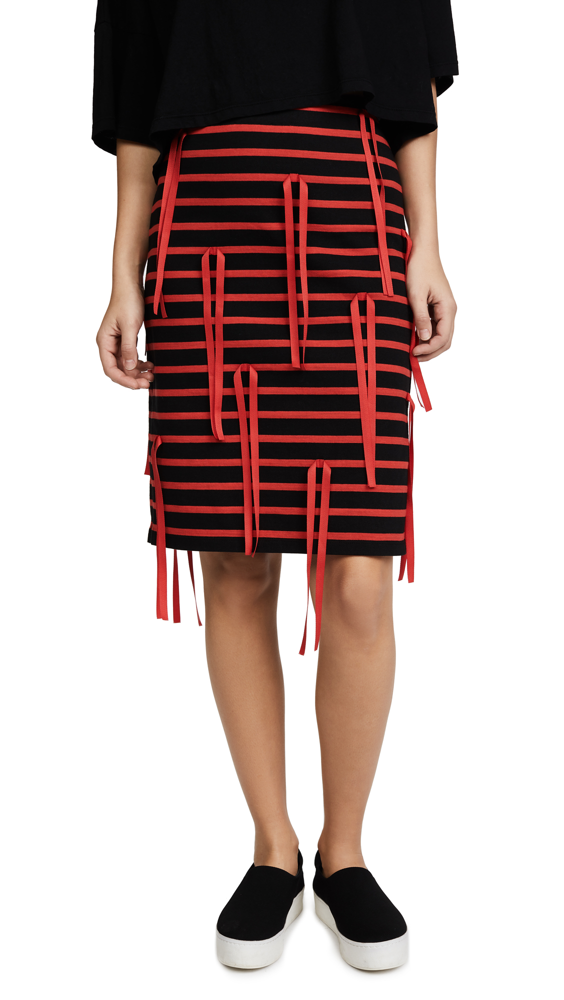 GOEN.J Striped Skirt with Ribbon In Black