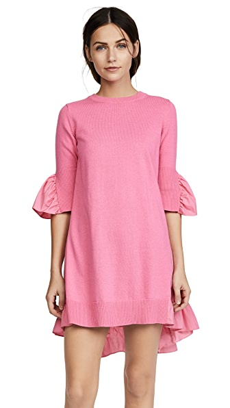 GOEN.J Knit & Poplin Dress In Pink