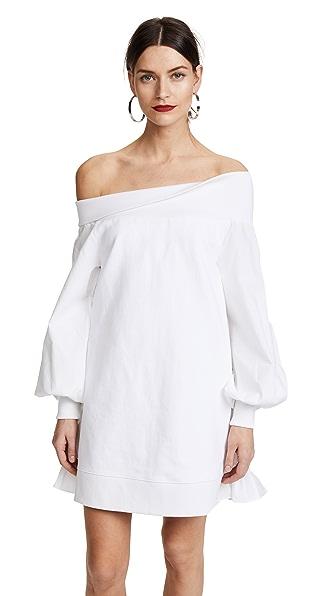GOEN.J OTS Ruffle Hem Dress In White