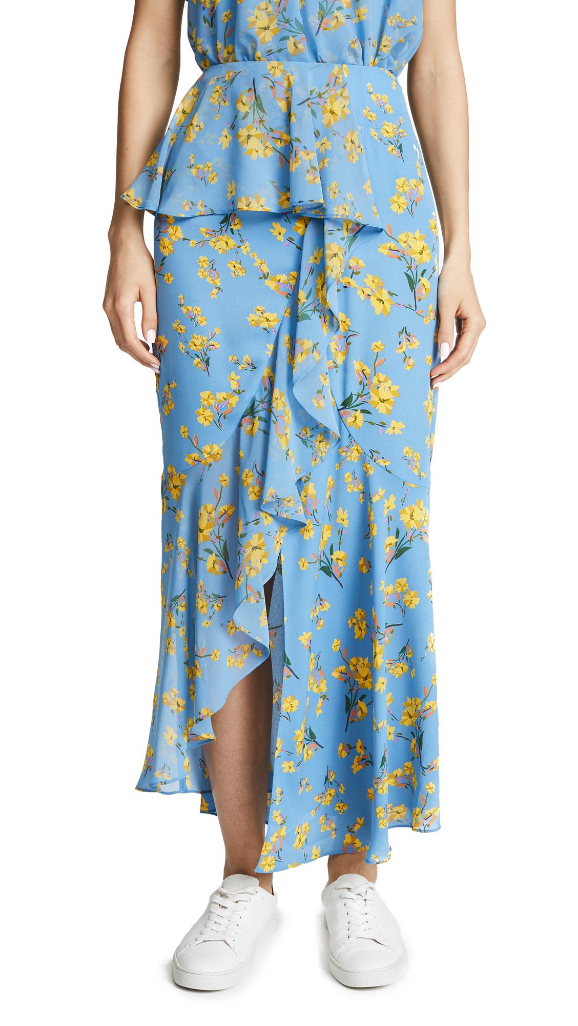 GOEN.J Asymmetrical Skirt with Ruffles - Sky Blue