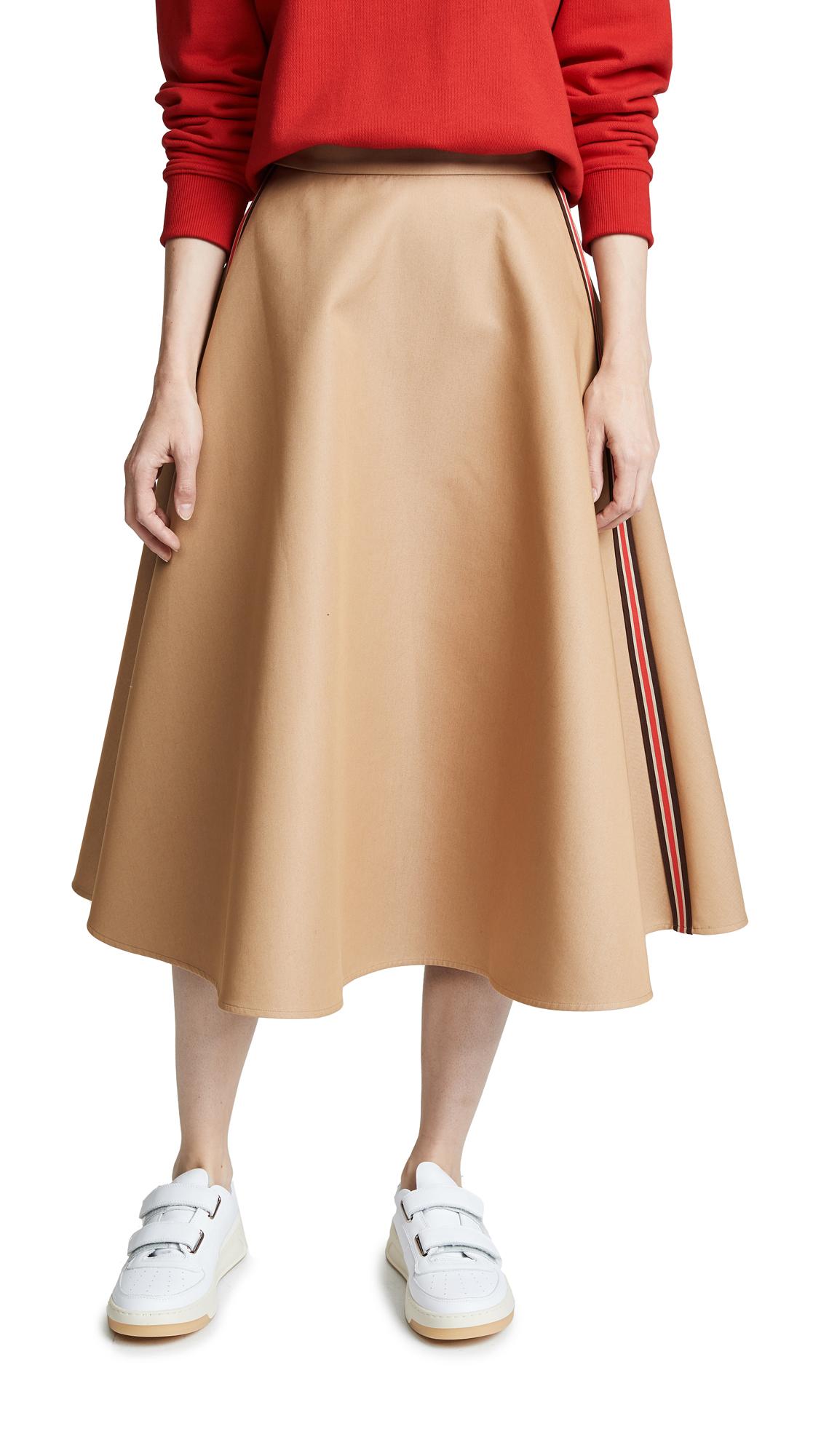 GOEN.J Flared Midi Skirt In Beige