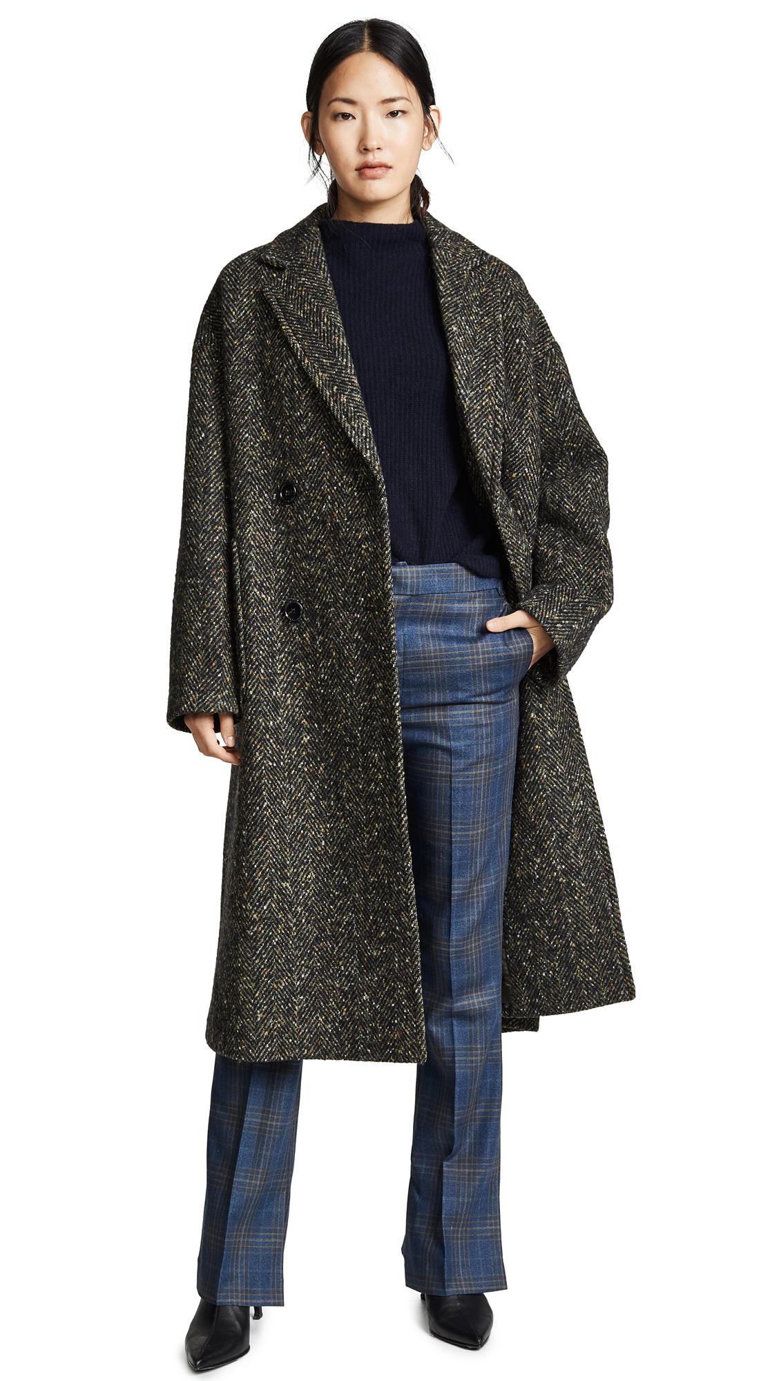 GOEN.J Oversized Wool Coat In Khaki