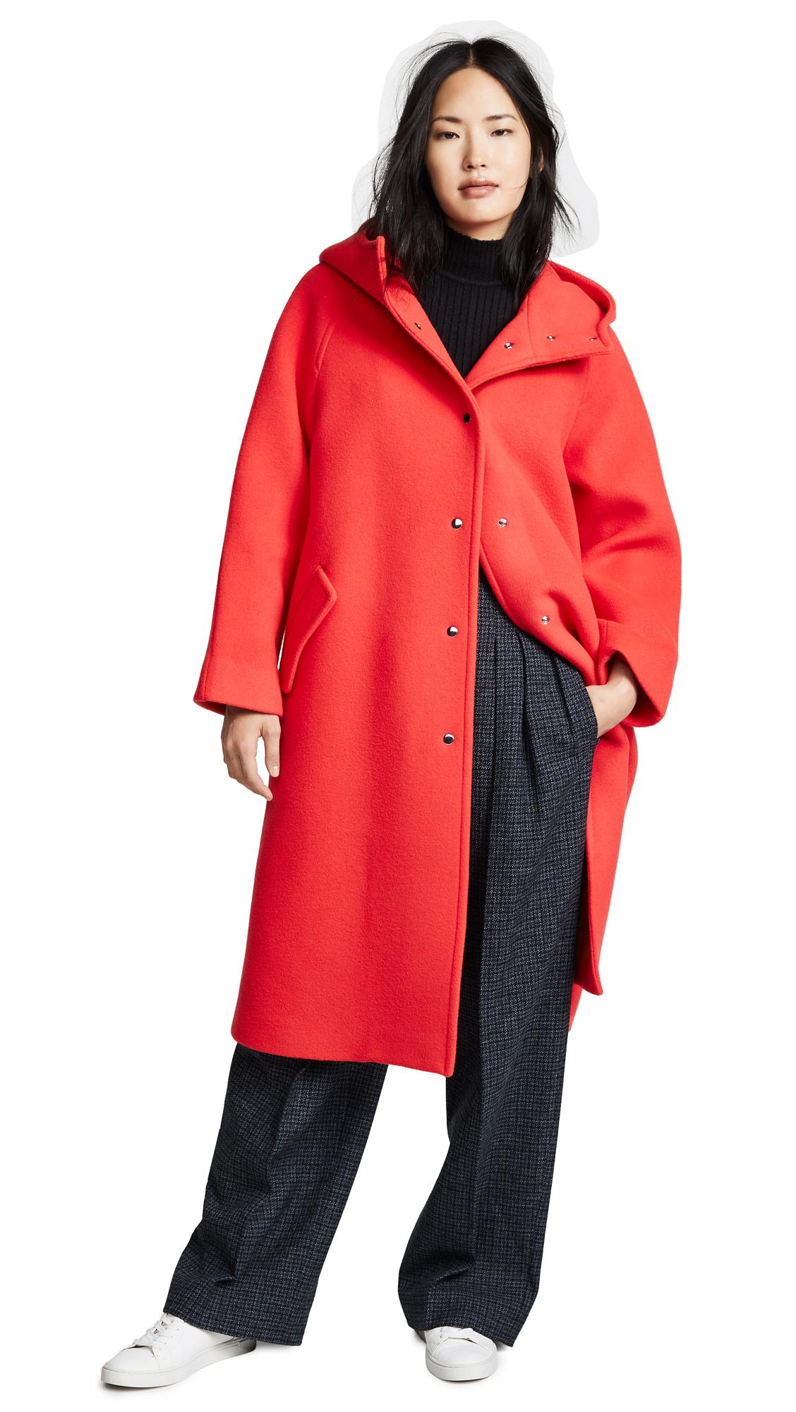 GOEN.J Wool Coat In Red/Orange