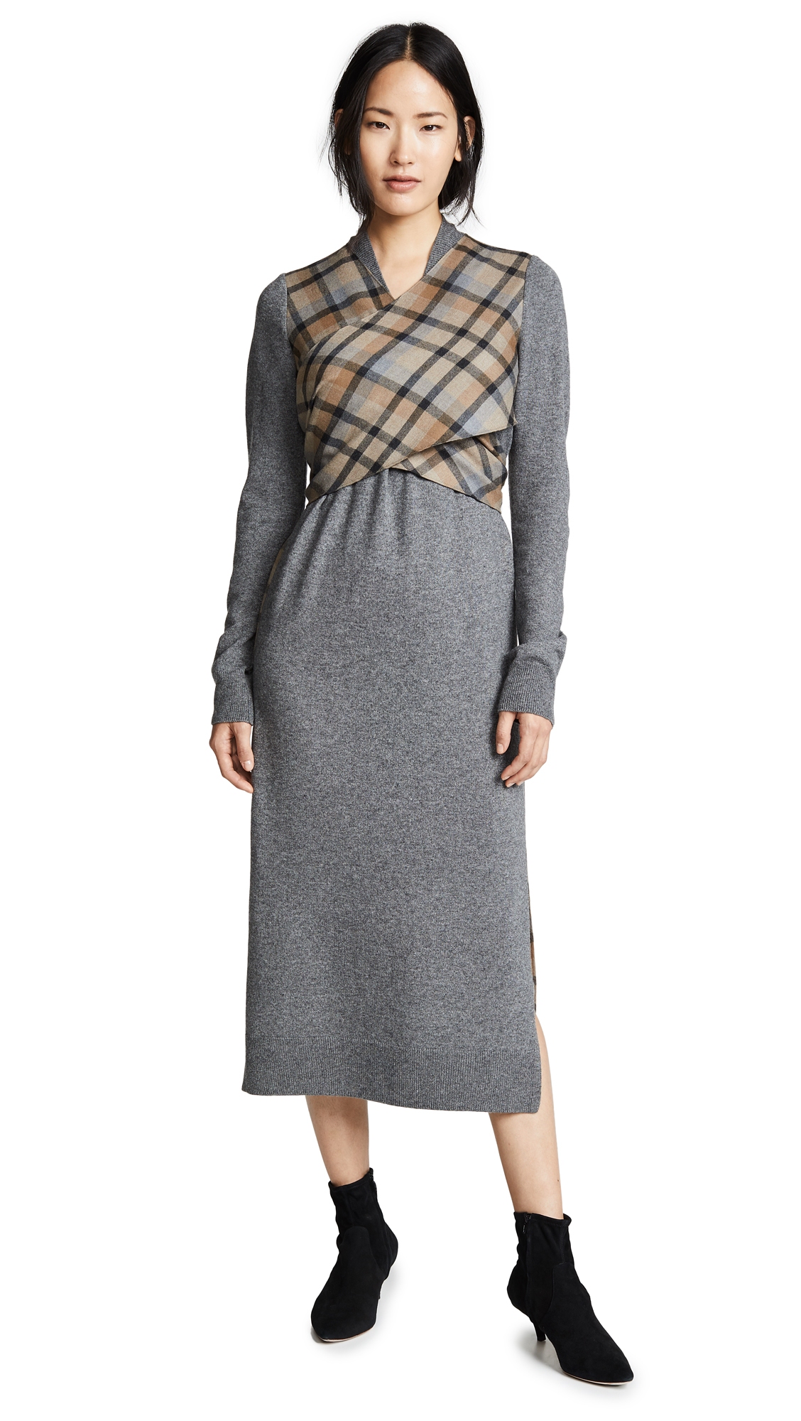 GOEN.J Wrap Knit Dress In Charcoal