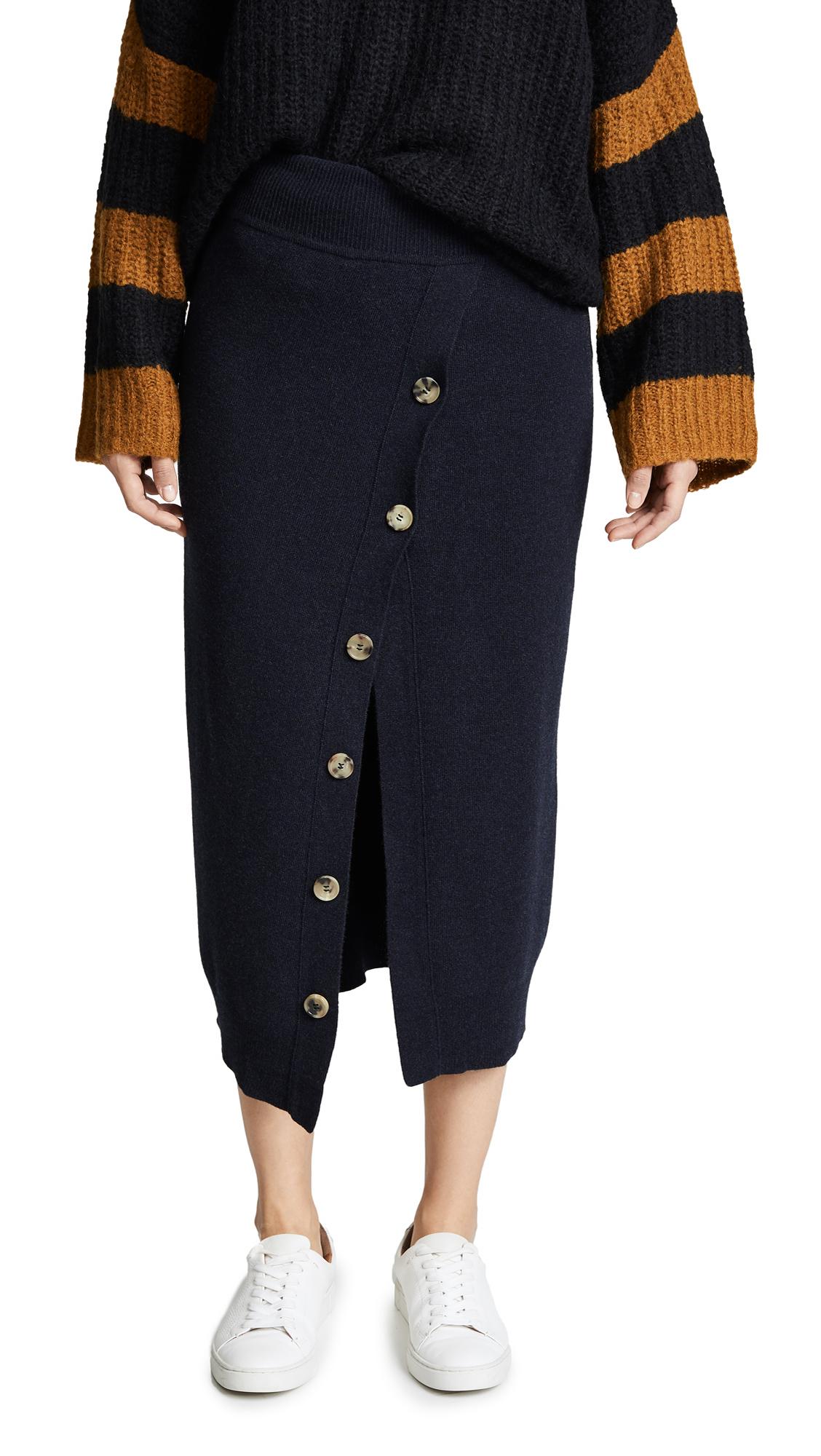 GOEN.J Knit Button Front Skirt In Navy