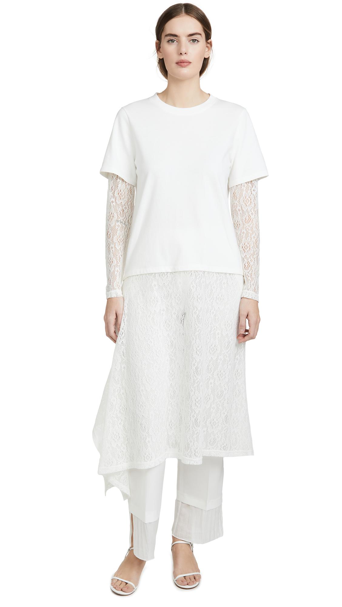 Buy GOEN.J online - photo of GOEN.J Double Layered Crochet Lace and Cotton Jersey Dress