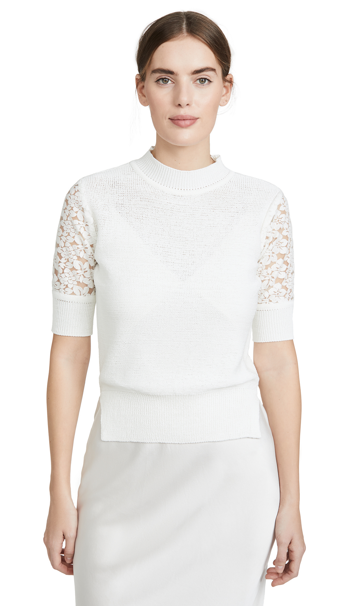 GOEN.J Lace Embroidered Crochet Knit Top - 50% Off Sale