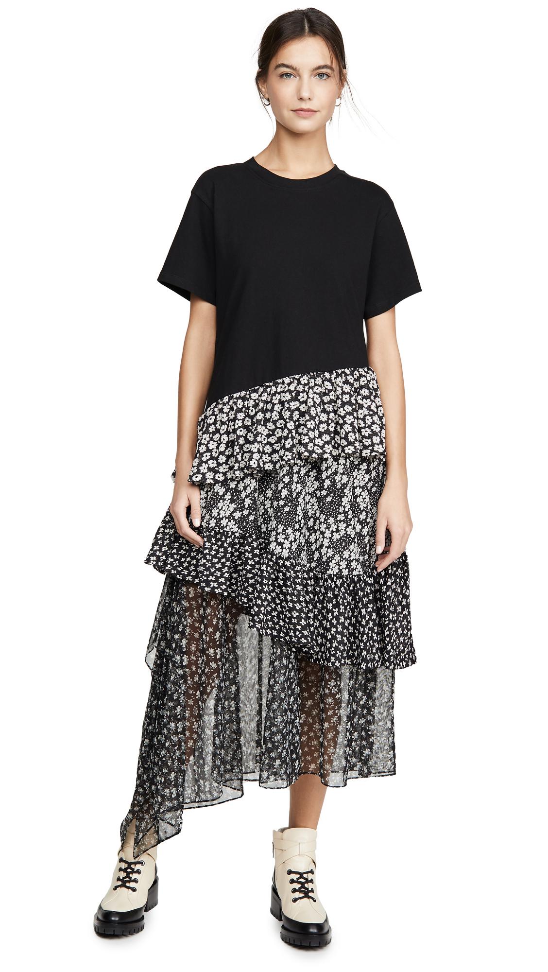 Buy GOEN.J Asymmetric Floral Print Cotton Jersey Top Dress online beautiful GOEN.J Clothing, Dresses