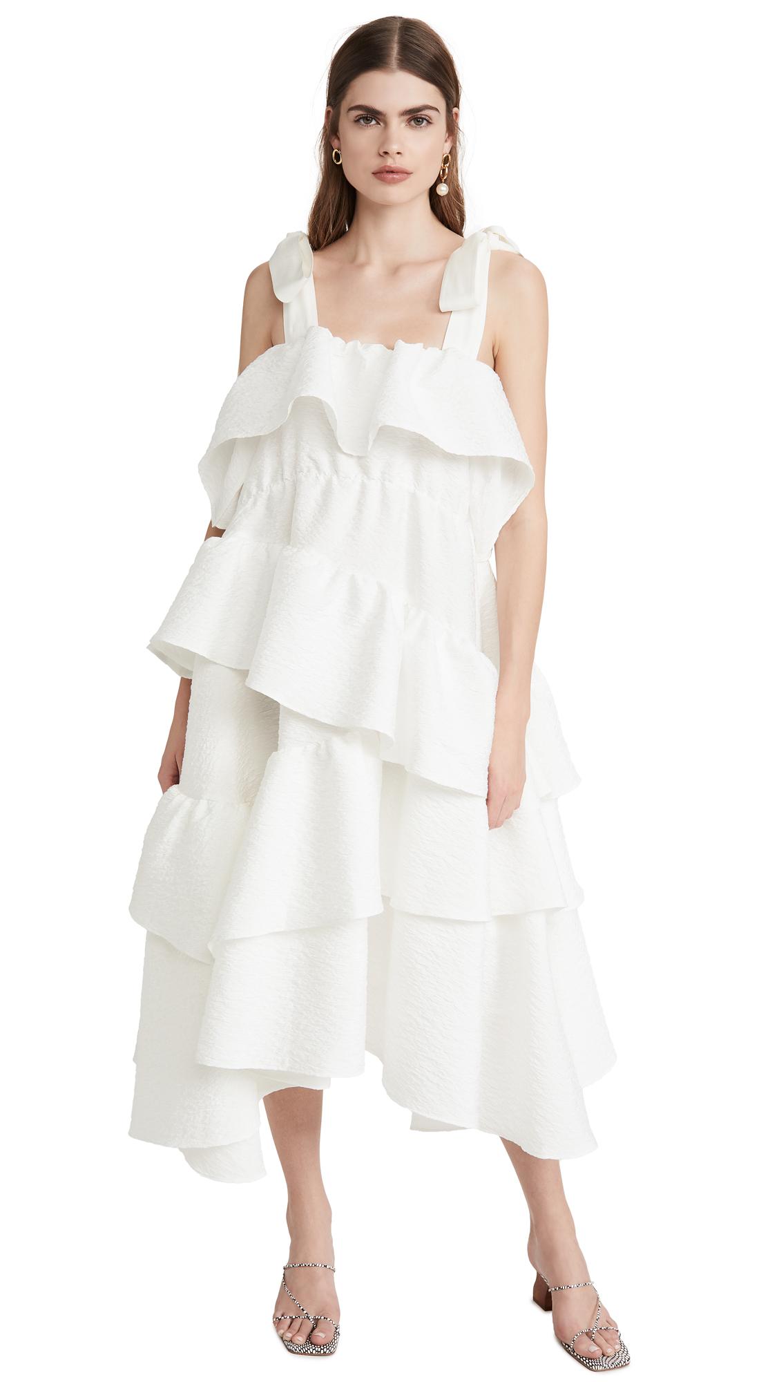 GOEN.J Asymmetric Ruffled and Gathered Leopard Matelasse Dress - 40% Off Sale
