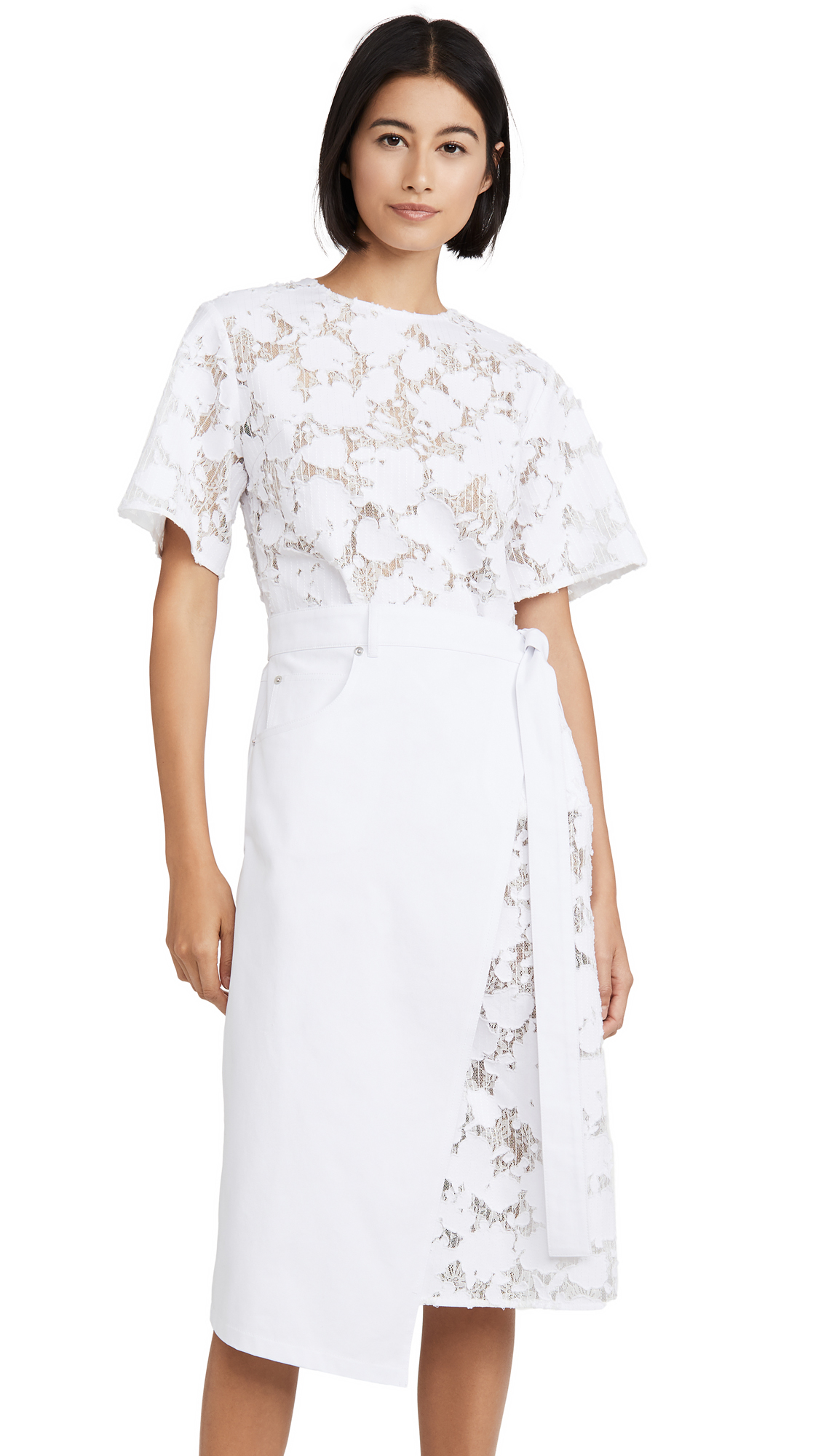 GOEN.J Burnout Denim Lace Wrap Dress - 40% Off Sale