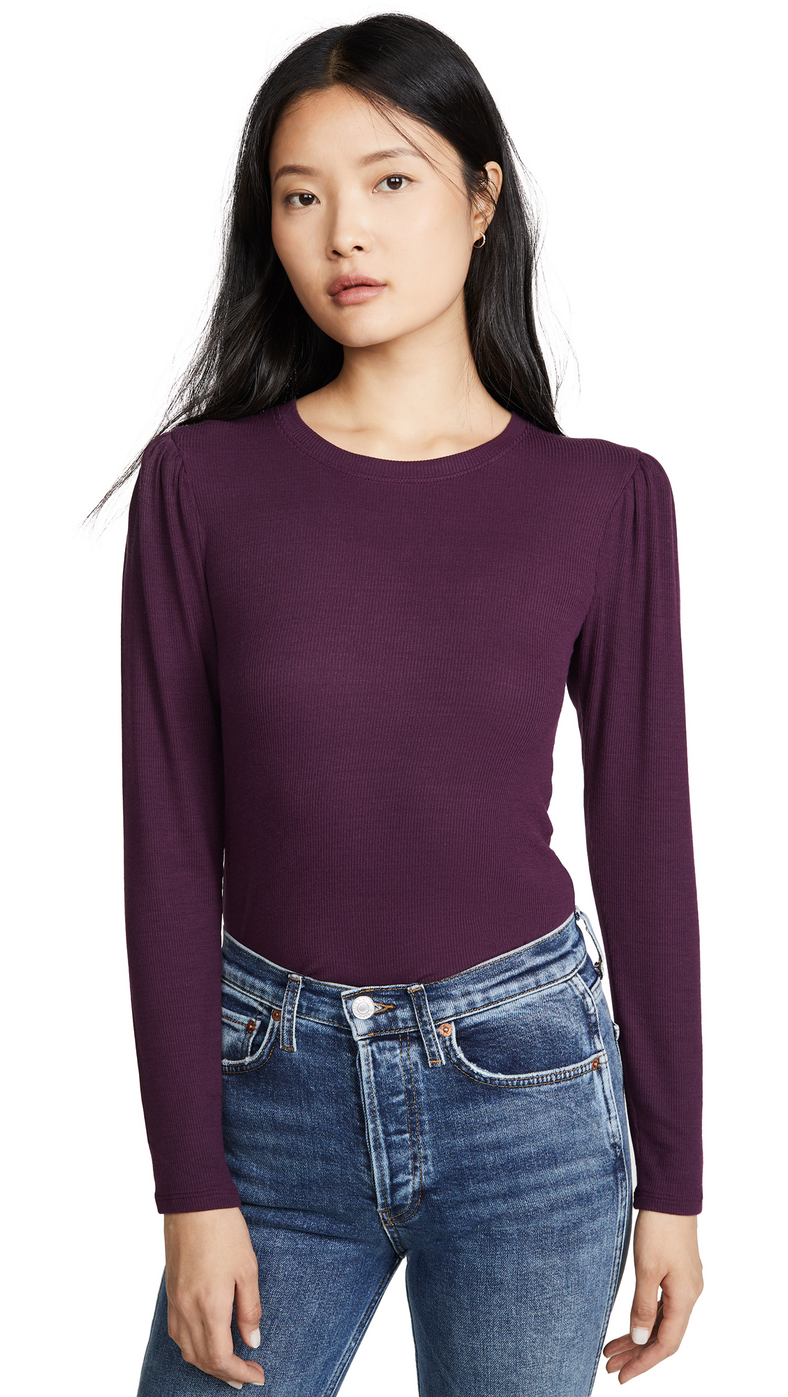 Buy Goldie online - photo of Goldie Ribbed Puff Shoulder Tee