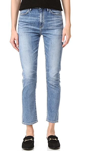 GOLDSIGN Glenn High Rise Cropped Straight Jeans - Celia