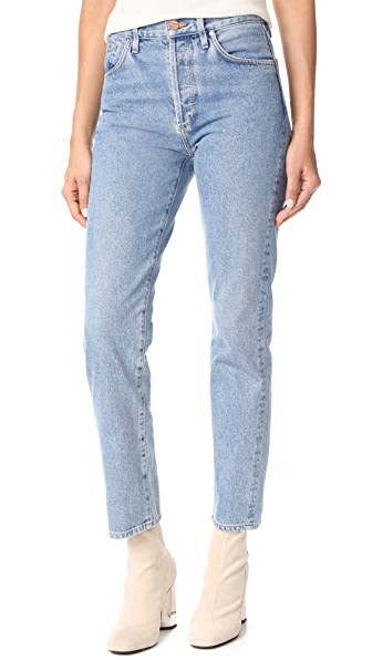 GOLDSIGN The Classic Fit High-Rise Straight-Leg Jeans in Stone Blue