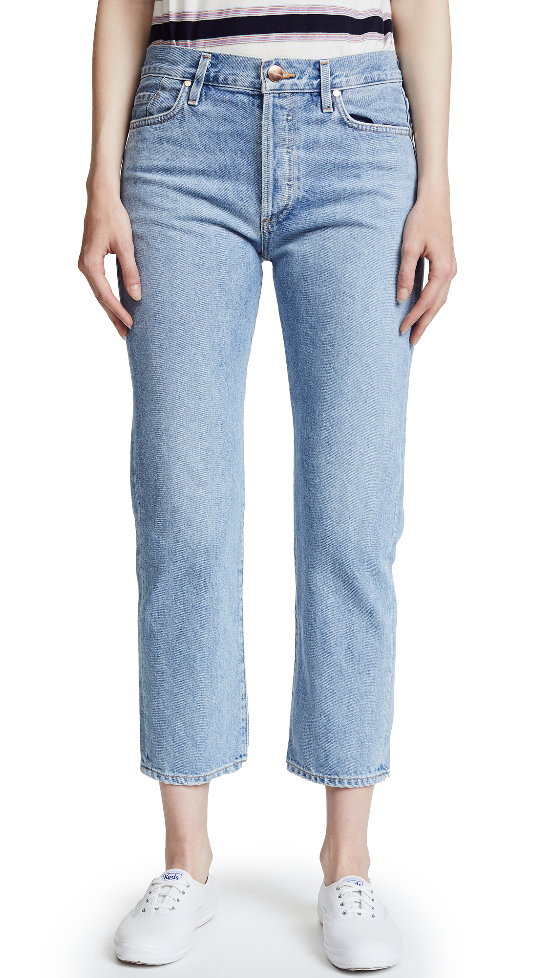 GOLDSIGN The Low Slung Jean In Marled Blue