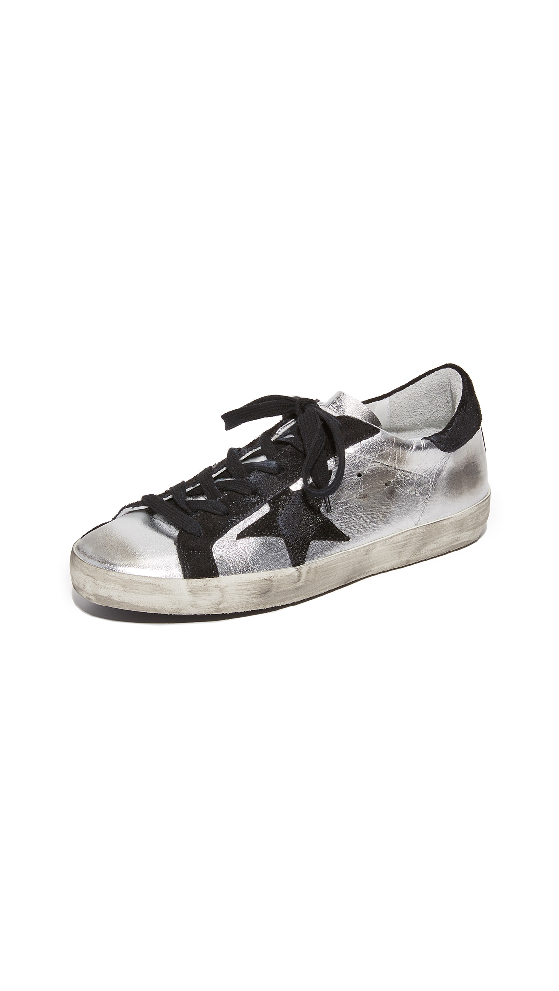 Golden Goose Superstar Sneakers - Silver/Black