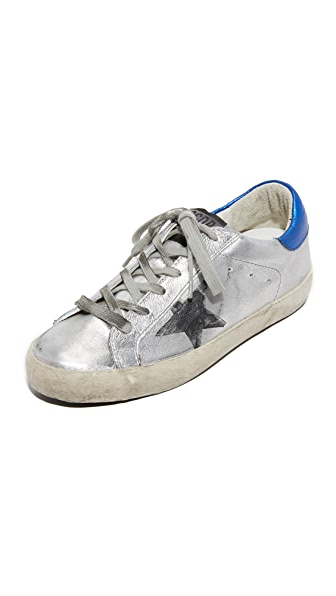 Golden Goose Superstar Silver Flag Sneakers