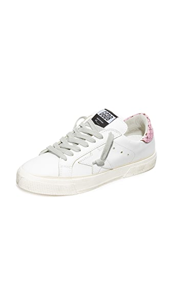 Golden Goose May Sneakers - White/Pink Snake