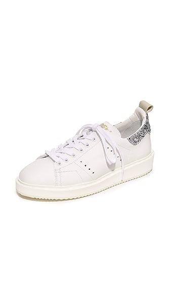 Golden Goose Starter Sneakers - White/Silver Glitter