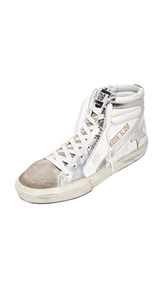 Golden Goose Slide Sneakers - White/Metallic Silver