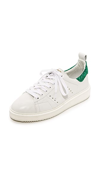 Golden Goose Starter Sneakers - White/Green Glitter
