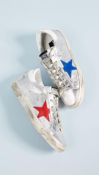 Golden Goose Superstar Sneakers - Silver/Red/Blue