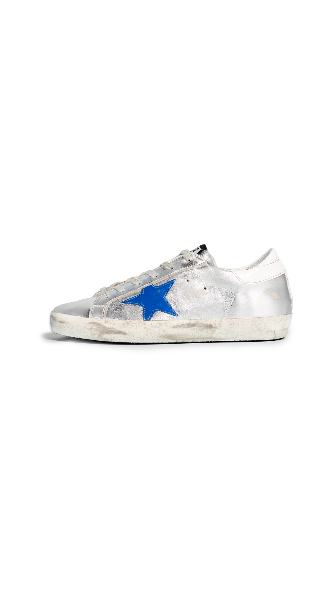 Golden Goose Superstar Sneakers - Silver/Red/Blue