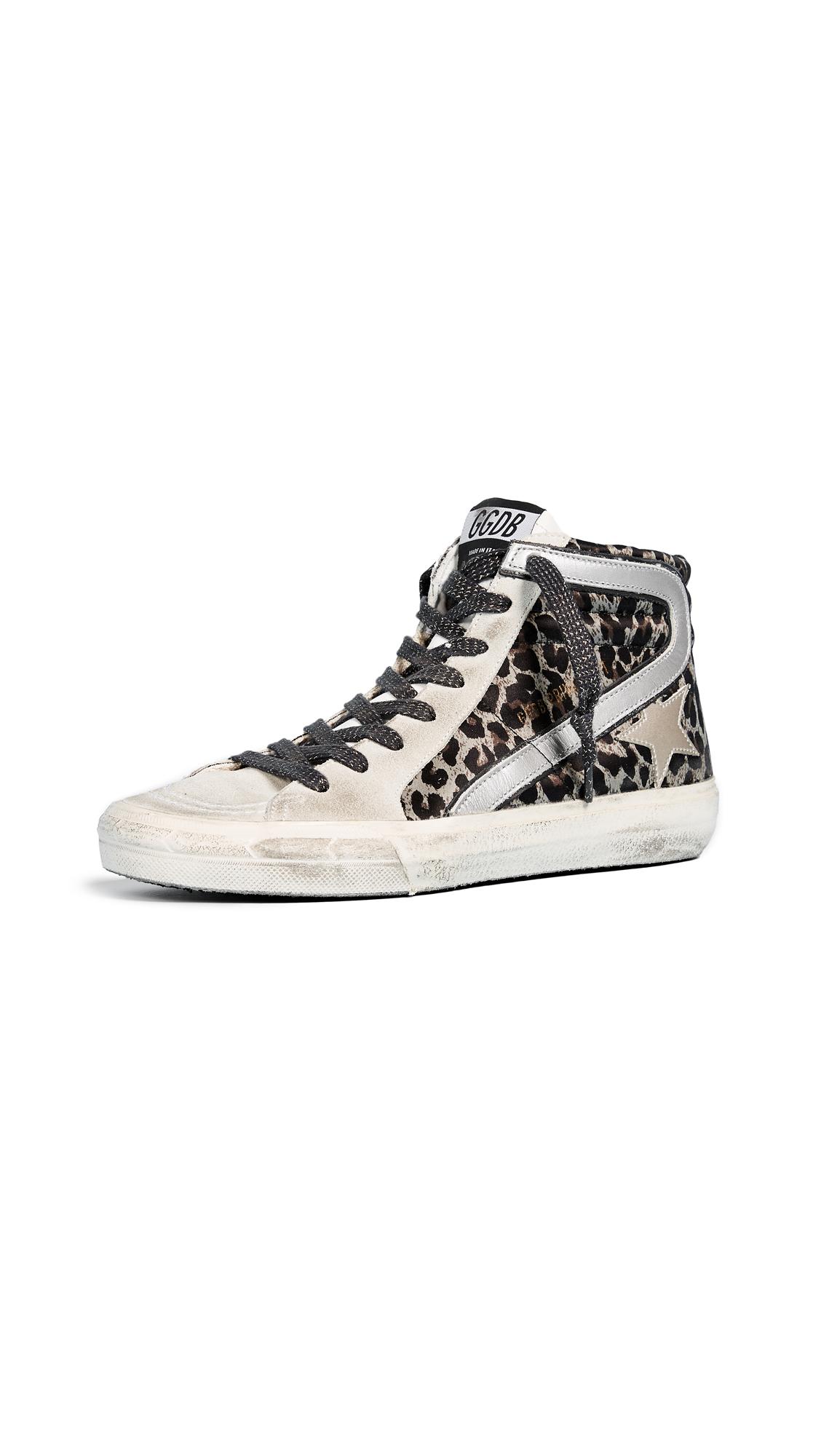 Golden Goose Slide Sneakers - Leopard/Grey
