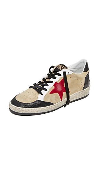 Golden Goose Ball Star Sneakers In Cream/Ostrich/Red Star