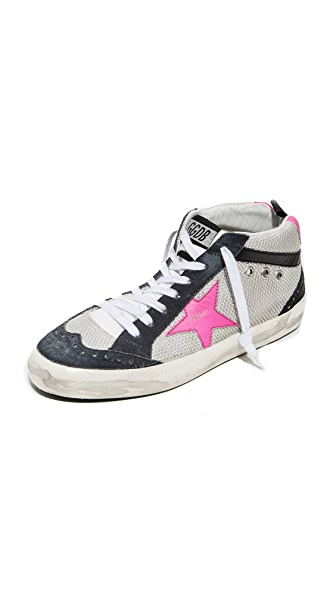 Golden Goose Mid Star Sneakers - Ice/Pink Fluo