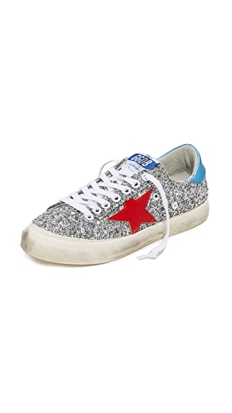 Golden Goose May Sneakers - Silver/Red
