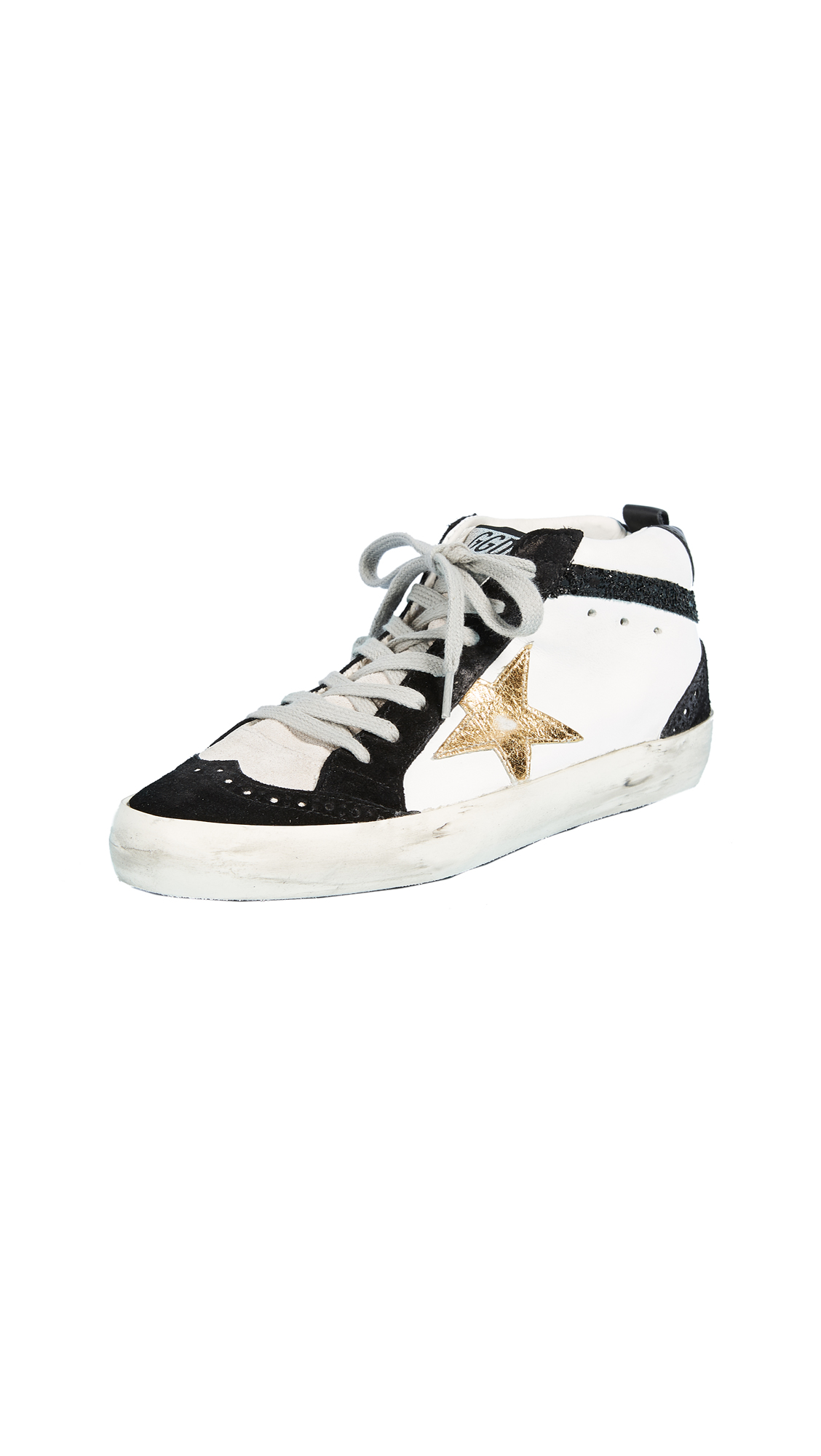 Golden Goose Mid Star Sneakers - White/Black/Gold