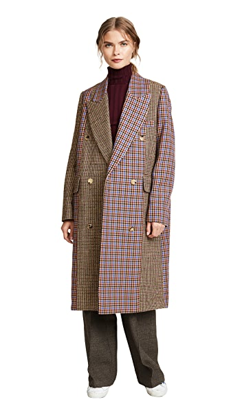 Golden Goose Nina Check Coat In Sand/Camel Check