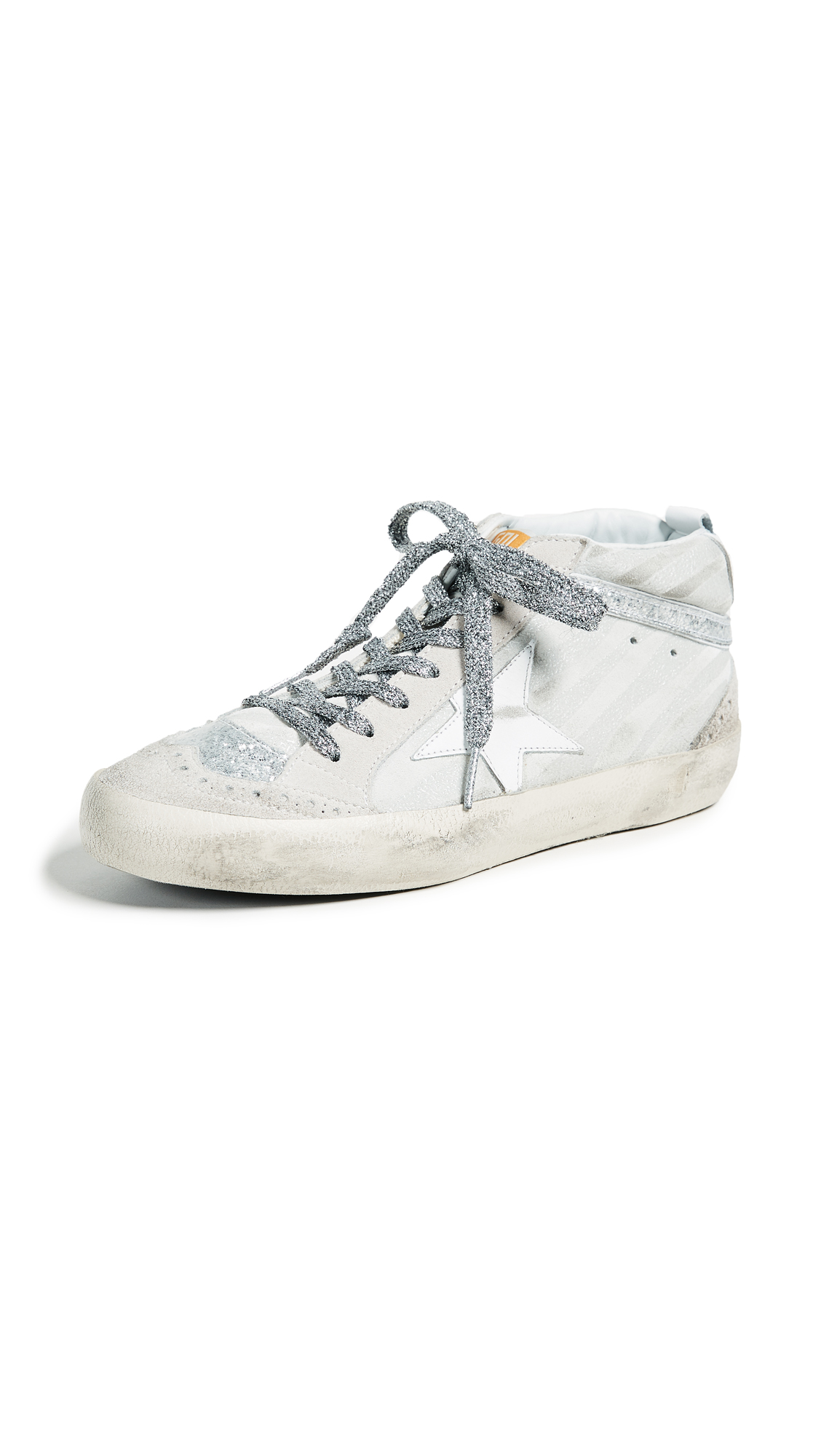 Golden Goose Mid Star Sneakers - White Zebra/Silver