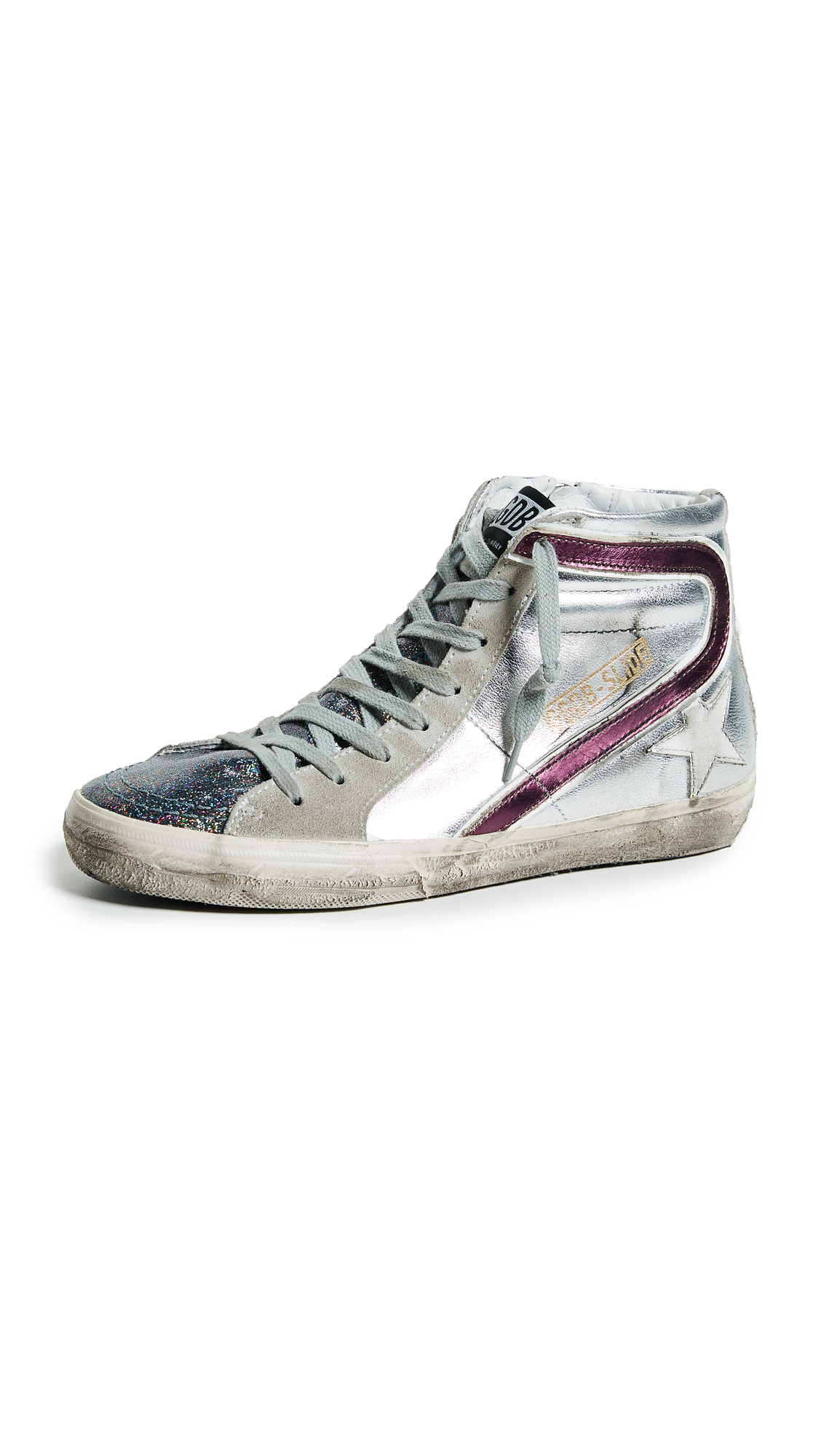 Golden Goose Slide Sneakers - Silver/Glitter