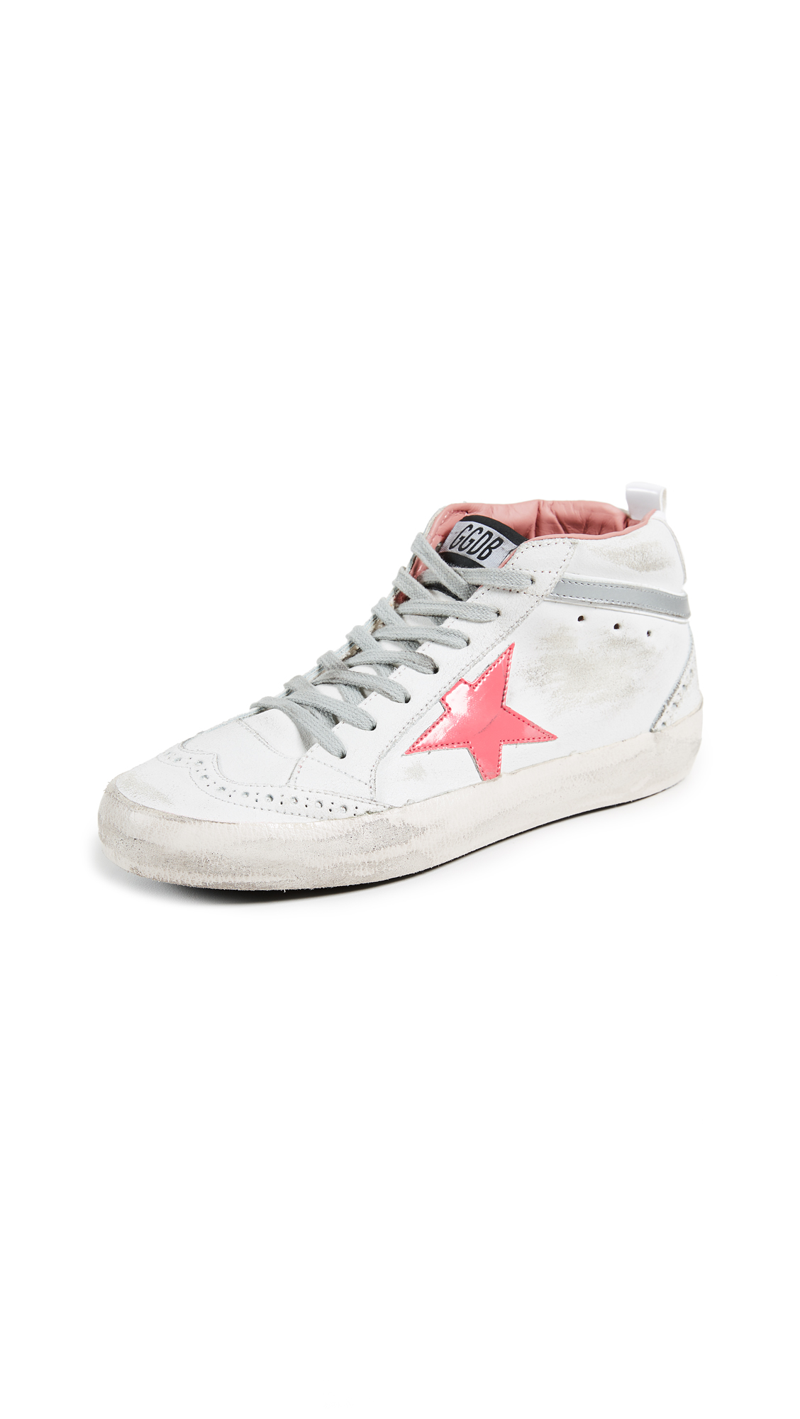 Golden Goose Mid Star Sneakers - White/Used Pink