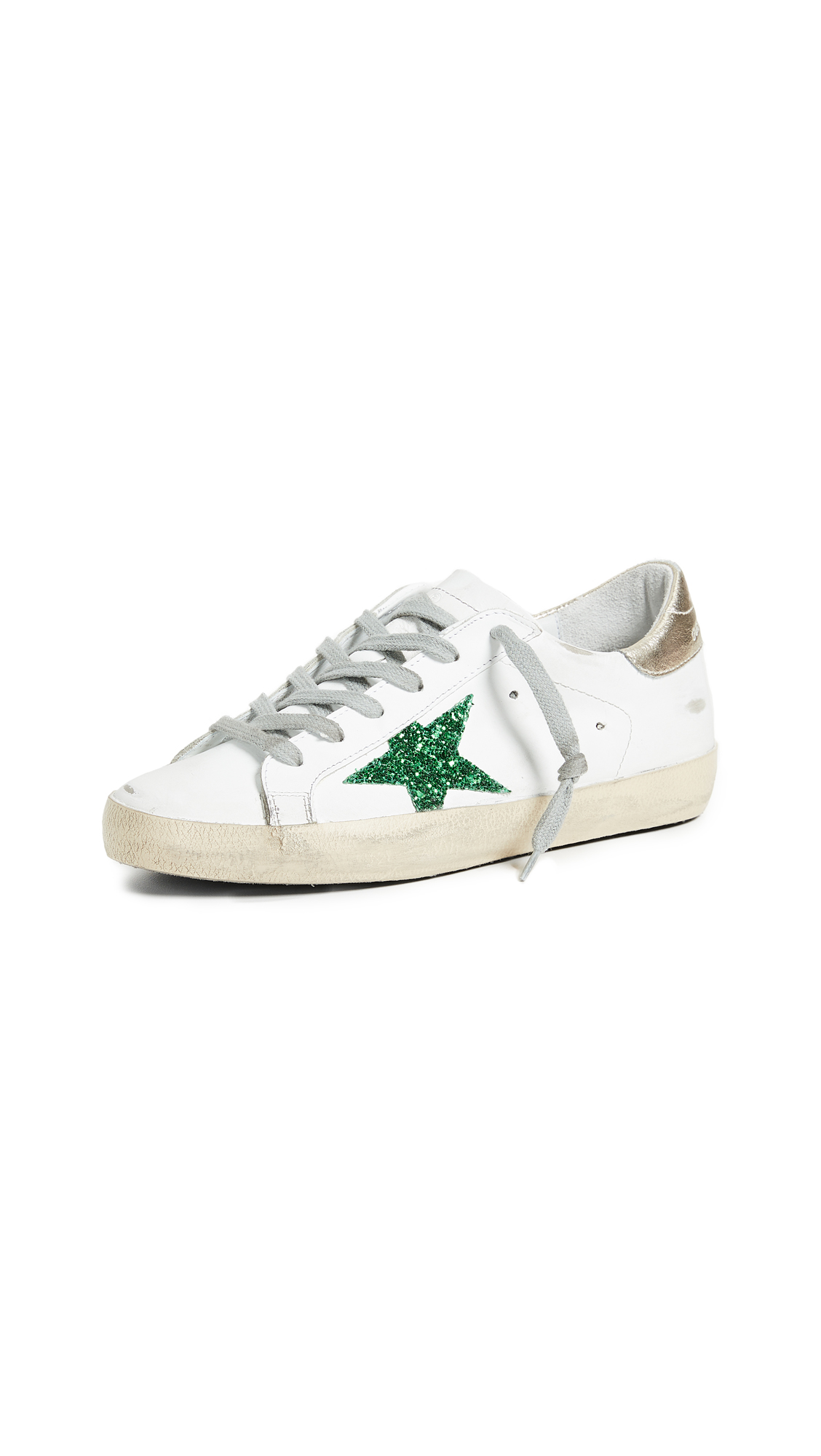 Golden Goose Superstar Sneakers - White/Green