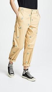 Golden Goose 刺绣图案斜纹棉布长裤