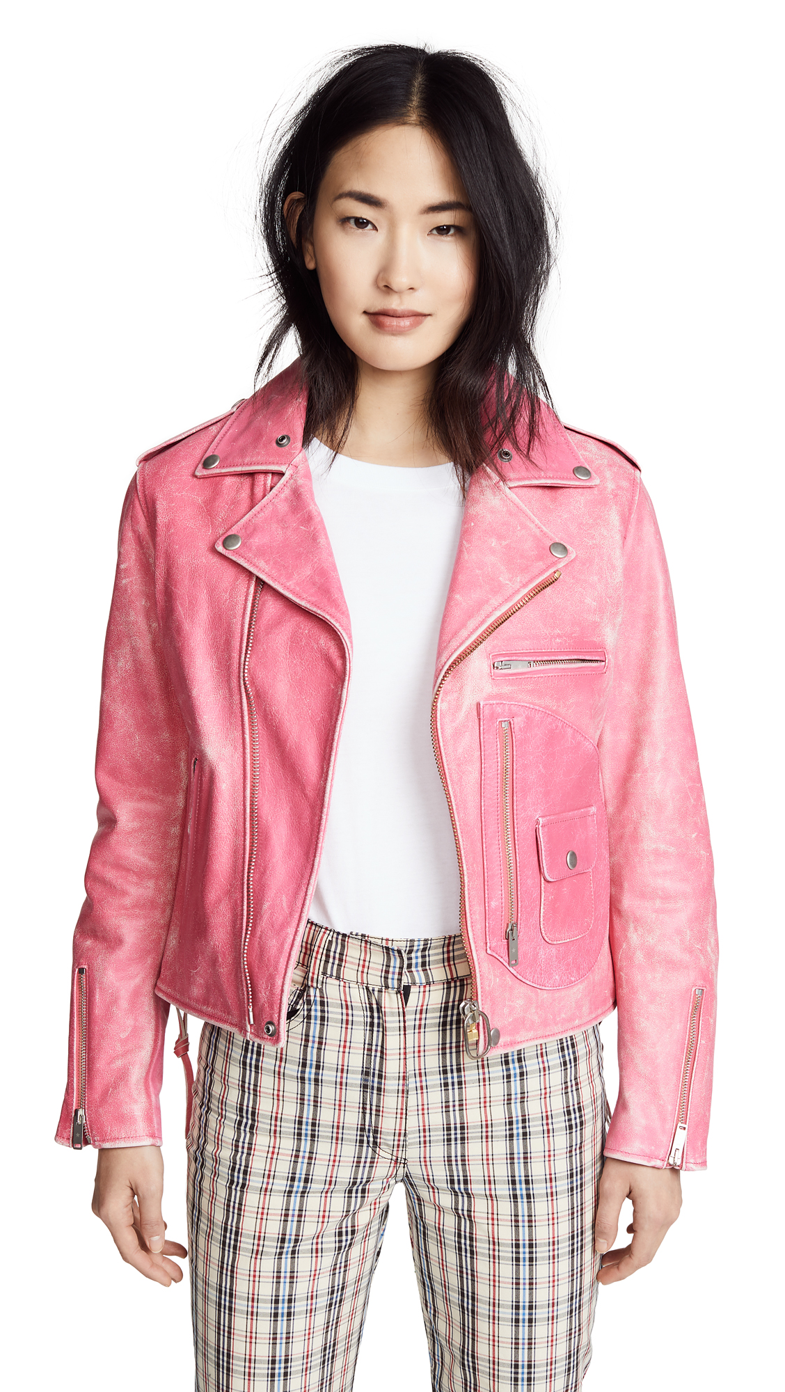 Golden Goose Chiodo Leather Jacket In Magenta