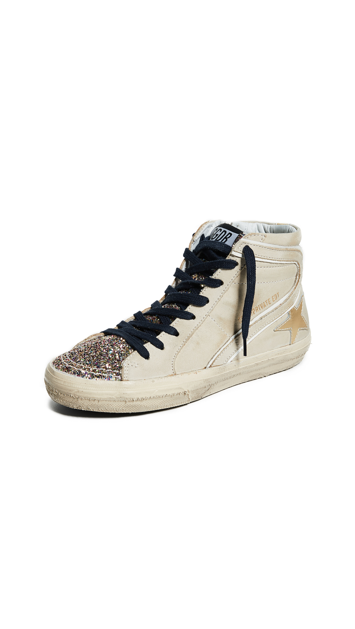 Golden Goose Slide Sneakers - Cream/Multi Glitter