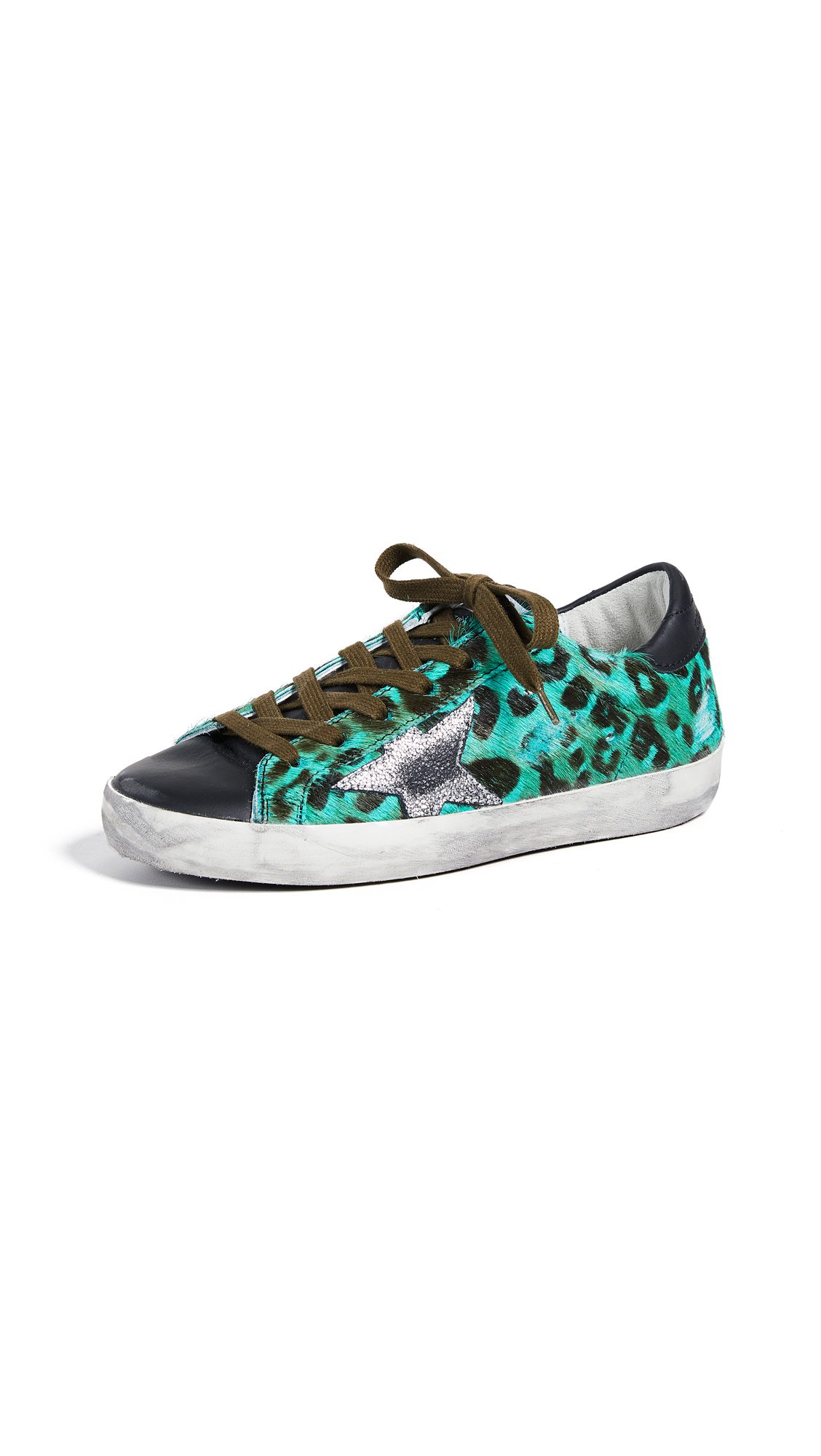 Golden Goose Superstar Sneakers - Green Emerald/Silver