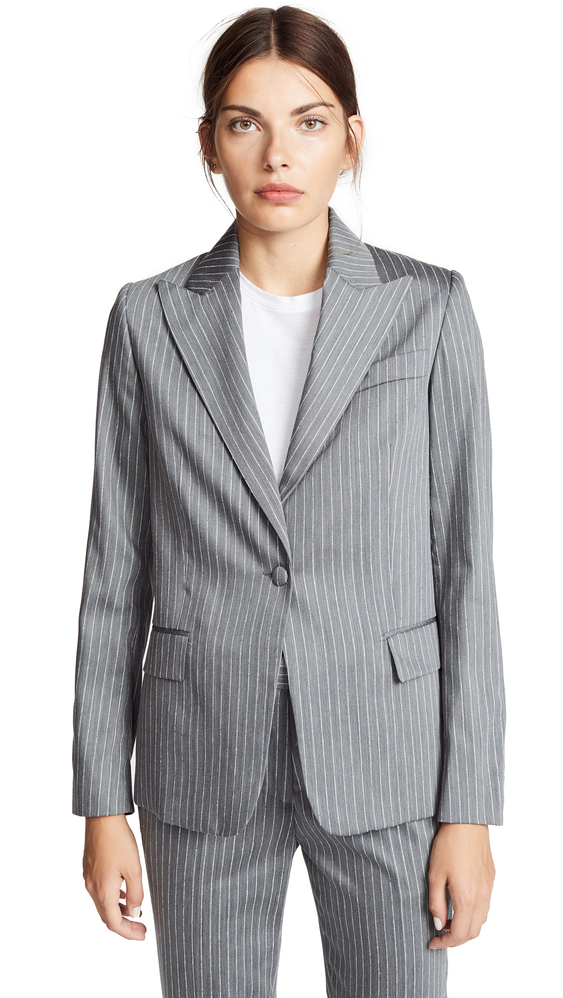 Golden Goose Venice Jacket In Grey Pinstripe