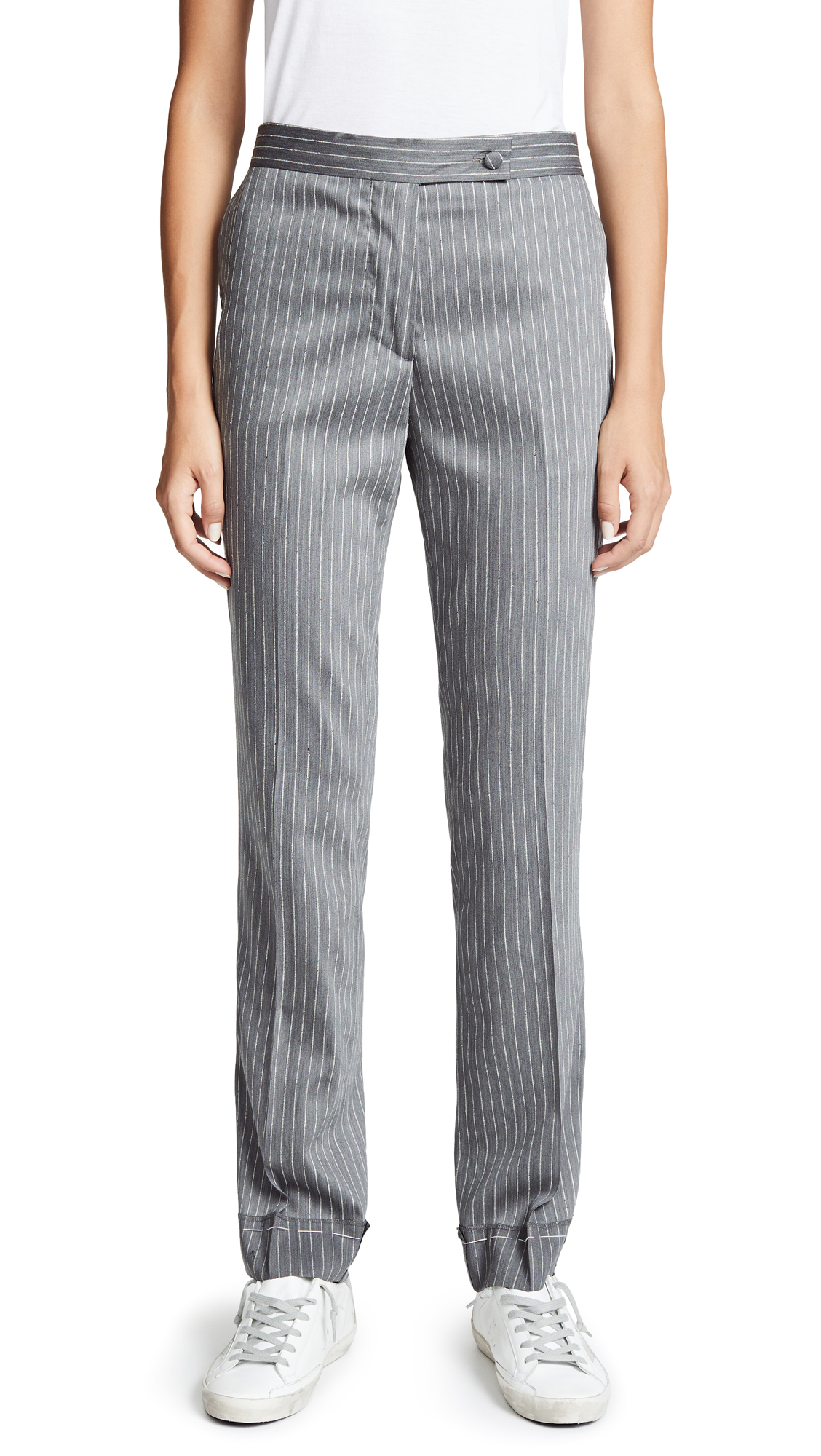 Golden Goose Venice Pants In Grey Pinstripe