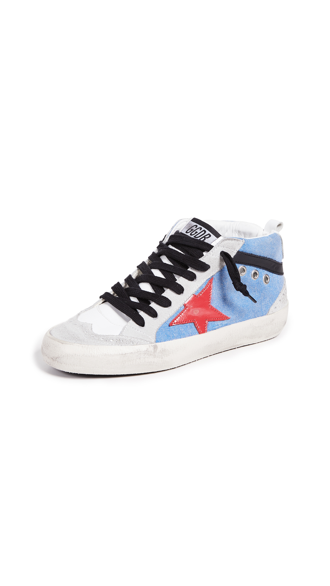 Golden Goose Mid Star Sneakers - Light Blue/Ice/Red