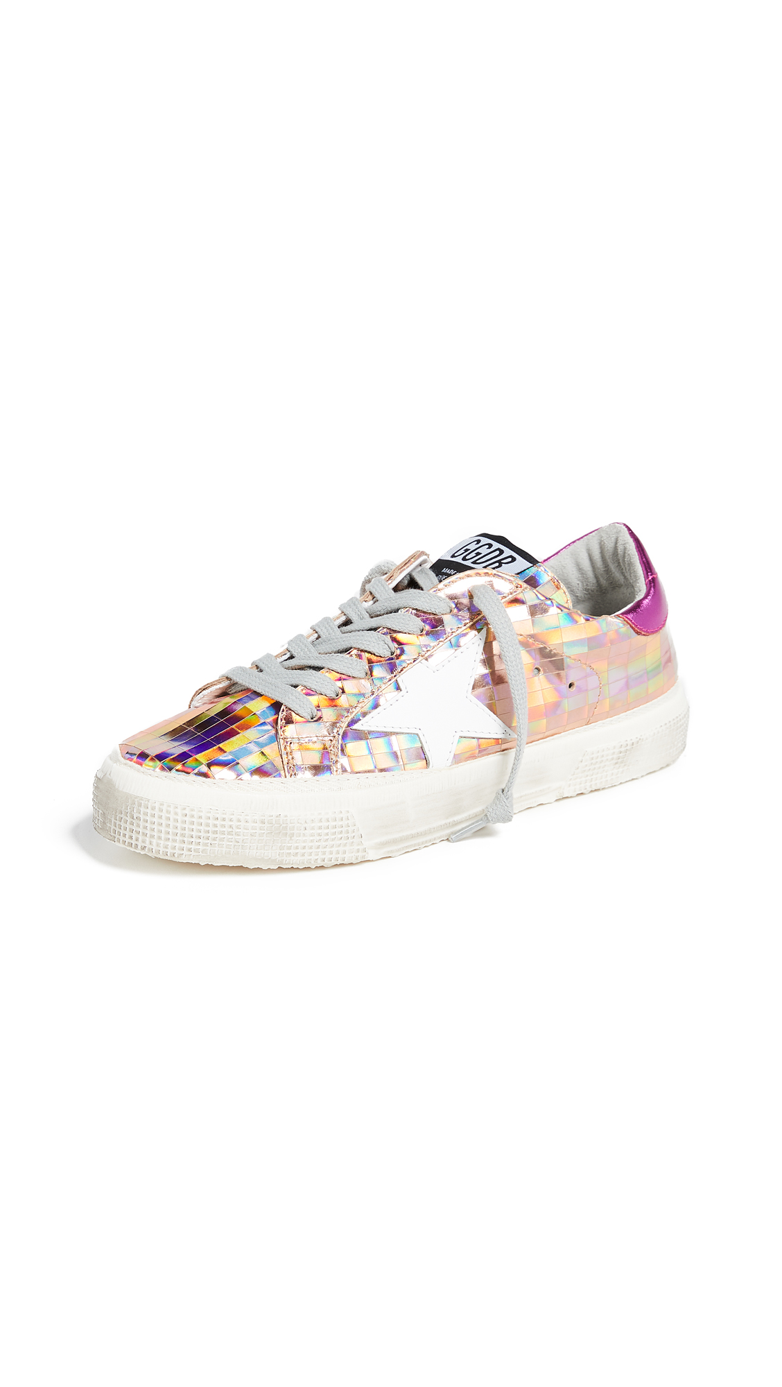 Golden Goose May Sneakers - Silver Mirror/Fuchsia