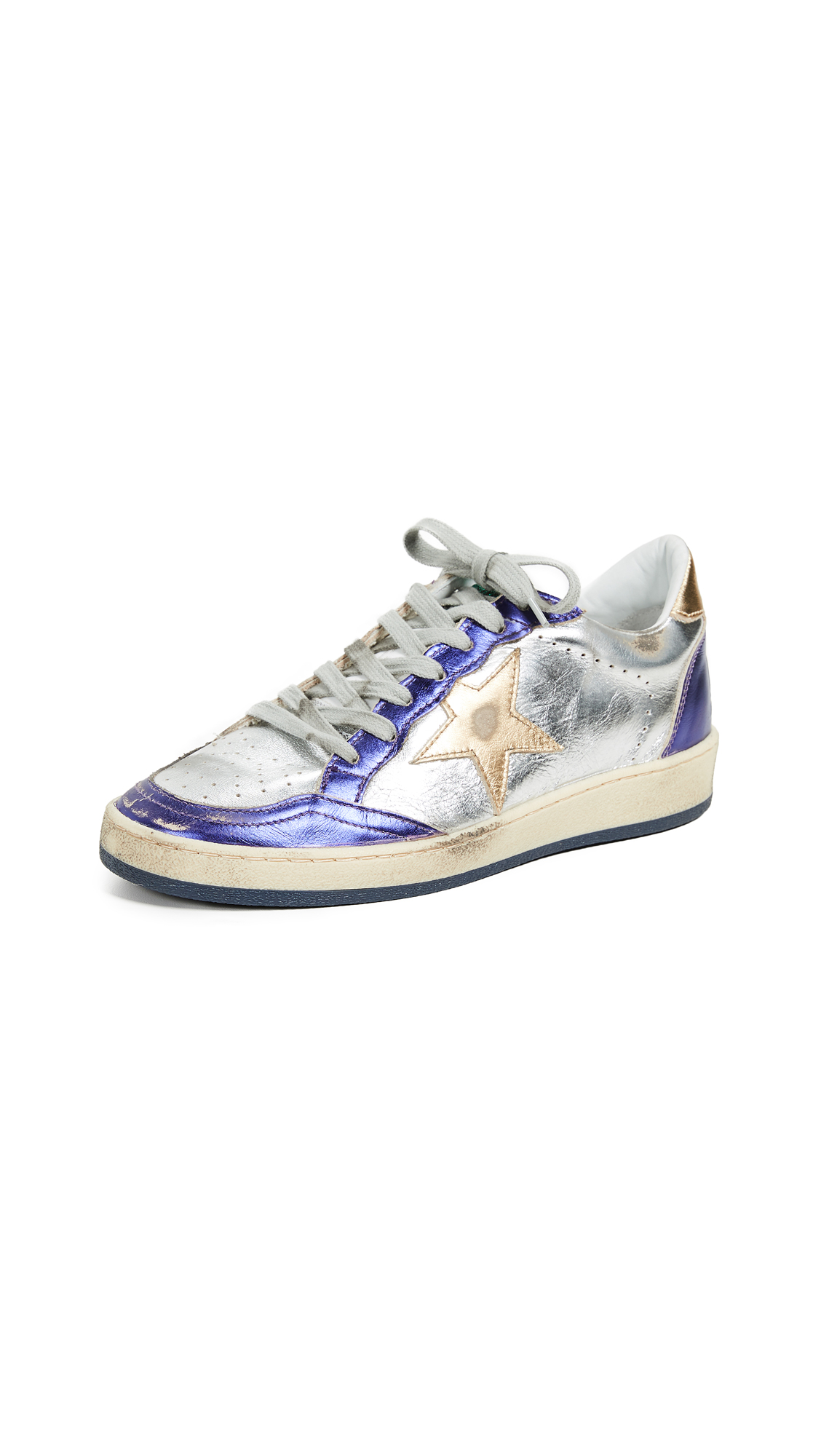 Golden Goose Ball Star Sneakers - Purple/Silver/Gold